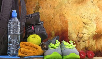 Accessories for fitness and sports, the gym, the theme of healthy lifestyle