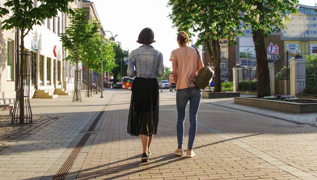 Women walking to store